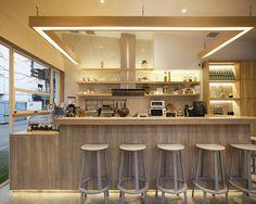 party space design has created a simple white construction for common room cafe in bangkok. Cafe Shop Design, Shop Interior Design, Retail Design, Best Thai Restaurant, Restaurant Design, Breakfast Cafe, Common Room, Cafe Interior, Retail Interior