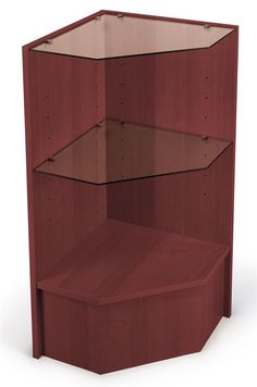 Corner Retail Counter w/ Cherry Finish & Adjustable Tempered Glass Shelves