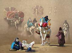 Peinture Algérie - Hocine ZIANI L'entrée de la caravane.
