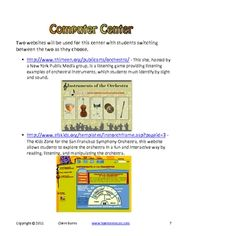 MUSICAL INSTRUMENT LEARNING CENTERS - ORCHESTRA FAMILIES - TeachersPayTeachers.com