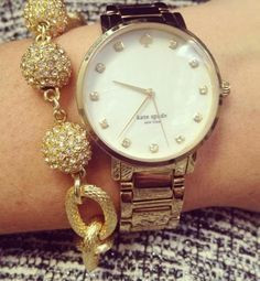 Gold Charm Bracelet & Watch