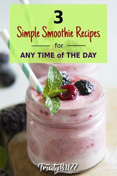 Here are three easy smoothie recipes you can try... #smoothierecipes #smoothie Easy Smoothie Recipes, Easy Smoothies, Healthy Living Tips, Vitamins, Nutrition, Simple, Breakfast, Day, Desserts