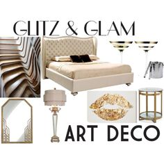 Glam bedroom by enaa87 on Polyvore featuring polyvore, interior, interiors, interior design, home, home decor, interior decorating, Couture Lamps, Mitchell Gold + Bob Williams, LSA International, Oliver Gal Artist Co., bedroom, artdeco and glitzglam