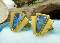18k Yellow Gold & Boulder Opal Cufflinks; Geometric Design Elements!! #Unbranded