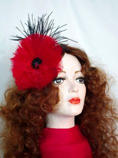 Poppy flower. Red Valentine. Brooch pin or hair by ArtDollBox