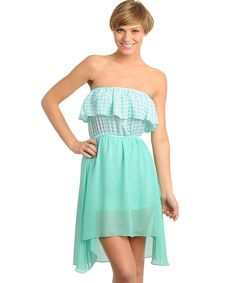 $39.99 Womens Small Medium or Large Dress * NEW* Mint Gingham Patterned Hi Low Dress ~~