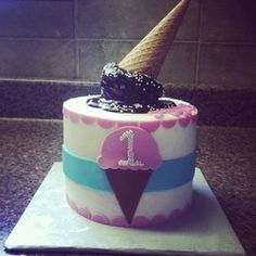 Ice cream cone 1st birthday smash cake