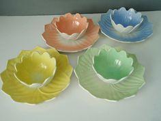 Set of 4 Anchor Hocking Pastel Lotus and Leaf Dessert Sets