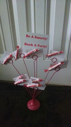 Getting Display Ideas...Be a smarty! Book a Party! Display for vendor table. Attach business cards to smarties and put them on a photo tree.
