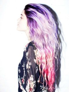 I just love how this ombre hair  blends right into the next color while still having hints of blonde! It's a the perfect mash up of edgy and sweet.