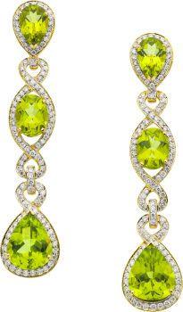 Estate Jewelry:Earrings, Peridot, Diamond, Gold Earrings, Eli Frei. ...