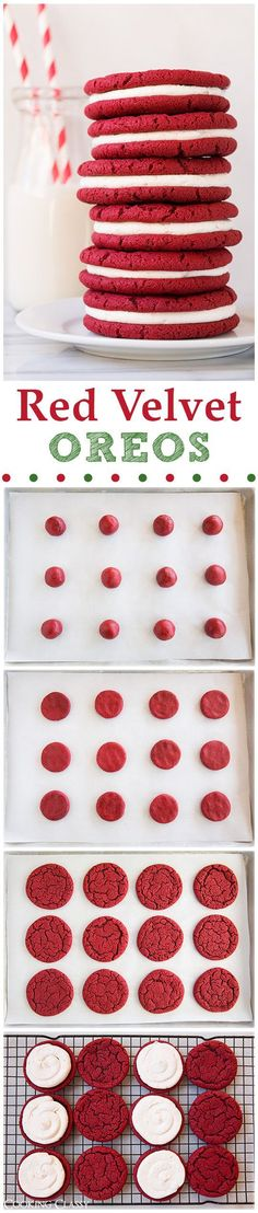 Red Velvet Oreo Cookies - these cookies are unbelievably delicious! If you like red velvet you will LOVE these! (Favorite Cake Red Velvet)