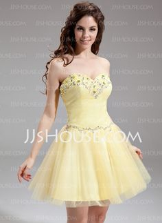 Homecoming Dresses - $118.99 - A-Line/Princess Sweetheart Short/Mini Tulle Homecoming Dress With Beading (022016306) http://jjshouse.com/A-Line-Princess-Sweetheart-Short-Mini-Tulle-Homecoming-Dress-With-Beading-022016306-g16306