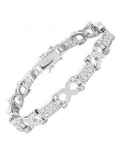 Cubic Zirconia Sterling Silver Unisex Bracelet