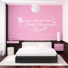 Custom Girls Name Wall Decal Princess Butterfly Storybook Theme Once Upon a time there was a beautiful princess named sticker decor art cute by StarstruckIndustries on Etsy Name Wall Decals, Name Stickers, Girls Bedroom, Bedroom Decor, Bedroom Ideas, Bedroom Designs, Bedrooms, Princess Room, Little Girl Rooms