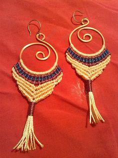 Tribal macramé spiral hoop earrings
