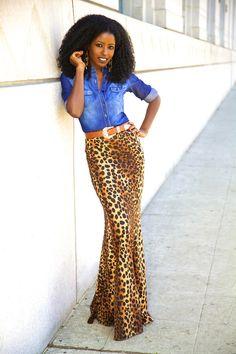 Folake Kuye Huntoon, Style Pantry Fashion Blogger. Wearing Denim Shirt + Leopard Print Mermaid Maxi.