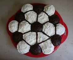 a soccer cupcake cake
