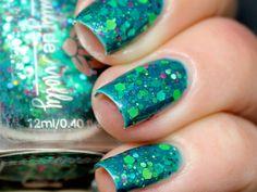 """Emily de Molly Nail polish - """"Monet's Garden""""  green, lime, neon glitter in a green base"""