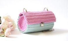 Pink blue crochet women clutch bag with chain, Cylinder purse bag, Crossbody tube handbag, Small round shoulder purse, Stylish barrel bag – Crochet Bag İdeas. Crochet Clutch Bags, Bag Crochet, Crochet Shell Stitch, Crochet Woman, Crochet Handbags, Shoulder Purse, Shoulder Handbags, Women Accessories, Fashion Accessories