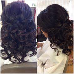 Half up, updo, curls, short hairstyles, wedding hair, bridal hair, half down, prom hair, homecoming hair, kenra, Paul Mitchell, beautybyverlin