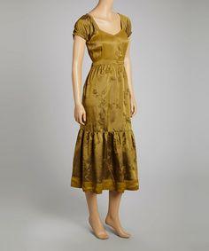 Look what I found on #zulily! Gold Iridescent Floral Embroidered Surplice Dress - Women #zulilyfinds