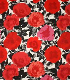 Bright red floral fabric!  http://www.justfabrics.co.uk/curtain-fabric-upholstery/poppy-madone-fabric/