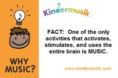 Fact: One of the only activities that activates, stimulates, and uses the entire brain is MUSIC. Music For Young Children, Music For Toddlers, Physical Development, Child Development, Music Classes For Babies, Music Ed, Music And Movement, Parenting Ideas, Early Literacy