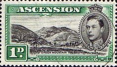 Ascension 1938 George VI SG 39b Fine Used Scott 41d Green Mountain Other George VI Stamps HERE