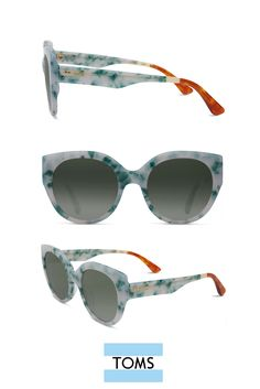 Make a statement in 60s inspired oversized frames like these TOMS Luisa Sunglasses in a flecked blue/green mojito.