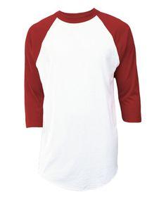 White & Red Raglan Top - Unisex