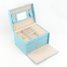 Amazon.com: Blue Jewelry Box, Jewelry Box, Faux Leather Medium Jewelry Organizer, Three Layers PU Leather, Holder for Earring Ring Necklace Bracelet Jewelry Box with Mirror and Lock for Girls and Women's Gift: Home & Kitchen Kids Jewelry Box, Jewelry Gifts, Jewelry Bracelets, Diy Gift Box, Women's Gift, Gift Boxes, Jewelry Holder, Ring Necklace, Jewelry Organization