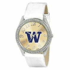 Washington Huskies Ladies Watch - Designer Diamond Watch by Game Time. $39.95. Officially Licensed Washington Huskies Ladies Designer Diamond Watch. 50 Crystal Stones-Water Resistant Up To 3 ATM. Approximately 1 Inch Face. Stainless Steel And Leather. Women. Washington Huskies women's watch. This Huskies designer diamond watch features a metal case with 50 crystal stones. The watch is made of a patent leather strap, brass dial, stainless steel buckle, case bac...