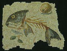 Roman Mosaic. fish bone. Aquileia, Italy.