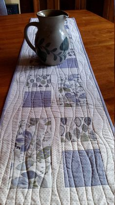 Quilted Table Runner Elegant silver gray lavender and