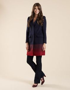 Love how this coat by Monsoon has an ombré effect transitioning from dark to burgundy red, also great classic tailoring