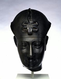 Black granite head of a king. Late Period-Greco-Roman Period. 306-30 B.C. (?)   The Walters Art Museum