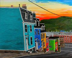 Wired- Acrylic Inks on Canvas Holloway Street in downtown St. John's is often referred to as the 'Jellybean Row' of the city. This street seems to capture most of wh… Building Painting, House Painting, Pike Art, Newfoundland And Labrador, Newfoundland Canada, Pictures To Paint, Painting Pictures, Jelly Beans, Beautiful Islands
