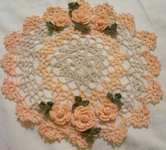 peach and ecru crocheted doily by Aeshagirl on Etsy