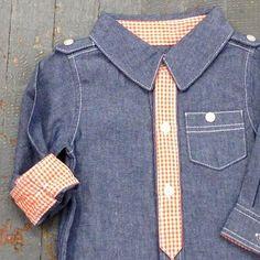 Kapital K Boys Style Long Sleeve Button Up Collared Denim Organe Check Shirt