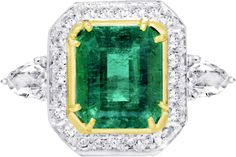 1stdibs | Emerald and Diamond Octagon Ring