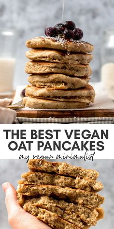 Vegan oat milk pancakes that will blow your brain! These fluffy oat flour pancakes are easy, ready in 1 bowl within 20 minutes. Making pancakes with oat milk is a fun way to make a healthier pancake. Pancakes Végétaliens, Vegan Pancakes, Vegan Dessert Recipes, Vegan Breakfast Recipes, Vegan Oats Breakfast, Pancake Breakfast, Mexican Breakfast, Pancake Recipes, Breakfast Sandwiches