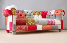 Pink Chesterfield Patchwork Sofa by namedesignstudio on Etsy, $3250.00