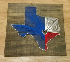 This shop is quality work! I have one this same design and love it! Texas String Art. Stained Wood String And Nail Art  Texas State by StringsOverTexas, $49.95.