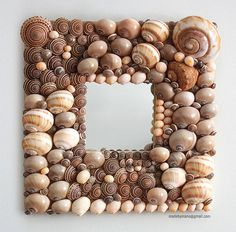 Sophisticated seashell mirror with taupe grey and door madebymano, $395,00