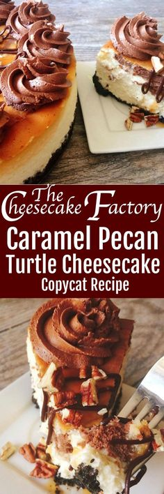 A copycat recipe of The Cheesecake Factory's Caramel Pecan Turtle Cheesecake. A decadent chocolate cookie crumb crust, classic cheesecake swirled with chocolate and caramel cheesecake. Topped with caramel sauce, pecans and whipped ganache.