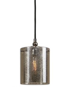 Flecked Mercury Glass Suspended By Metal Arms Finished In A Plated Polished Nickel.