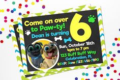 Adorable and fun Puppy Dog Pals personalized invitation. Features either 4x6 or 5x7 invitation on with a green, yellow, white chevron pattern and chalkboard background with your favorite Puppy Dog Pals. You select the size you need. Personalized invitation in JPG FORMAT ( Picture format not PDF) delivered to you as a digital file to your email. Ready to print and send. All and any wording and fonts can be changed to meet your needs. Information listed on sample is just a example of the…