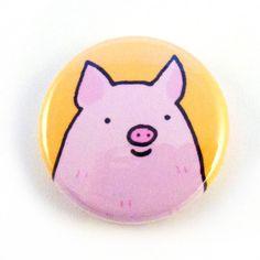 Pig Face Button por sugarcookie en Etsy