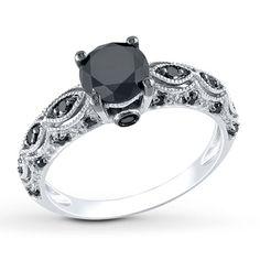 Black Diamond Ring 1-1/4 Carats tw 10K White Gold